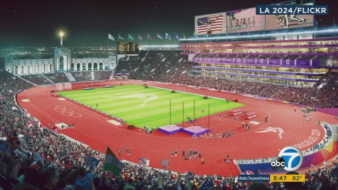 A rendering of the L.A. Memorial Coliseum for the 2024 Olympic Games.