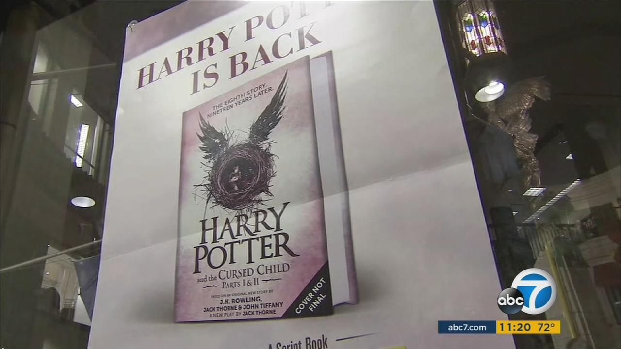 A poster shows an image of the latest Harry Potter book Harry Potter and the Cursed Child at a Los Angeles Barnes and Noble bookstore on Saturday, July 30, 2016.