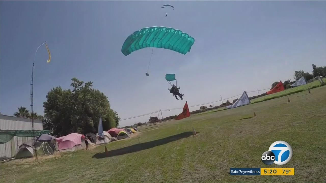 Ann New, 80, celebrated her birthday by skydiving with her grandchildren in Northern California.