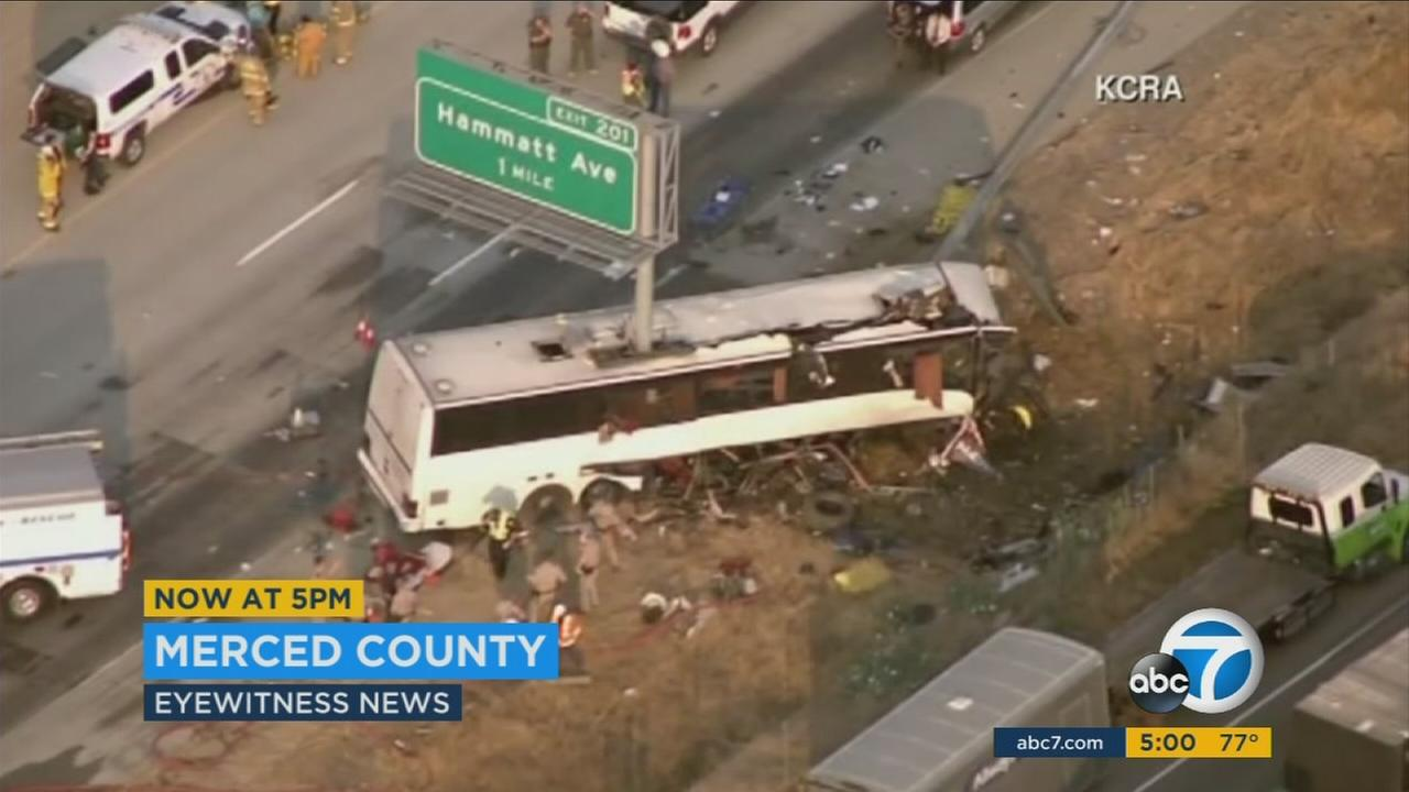At least five people were killed when a charter bus heading from Mexico to Washington crashed in Central California, causing a freeway sign pole to slice through the vehicle Tuesday morning.