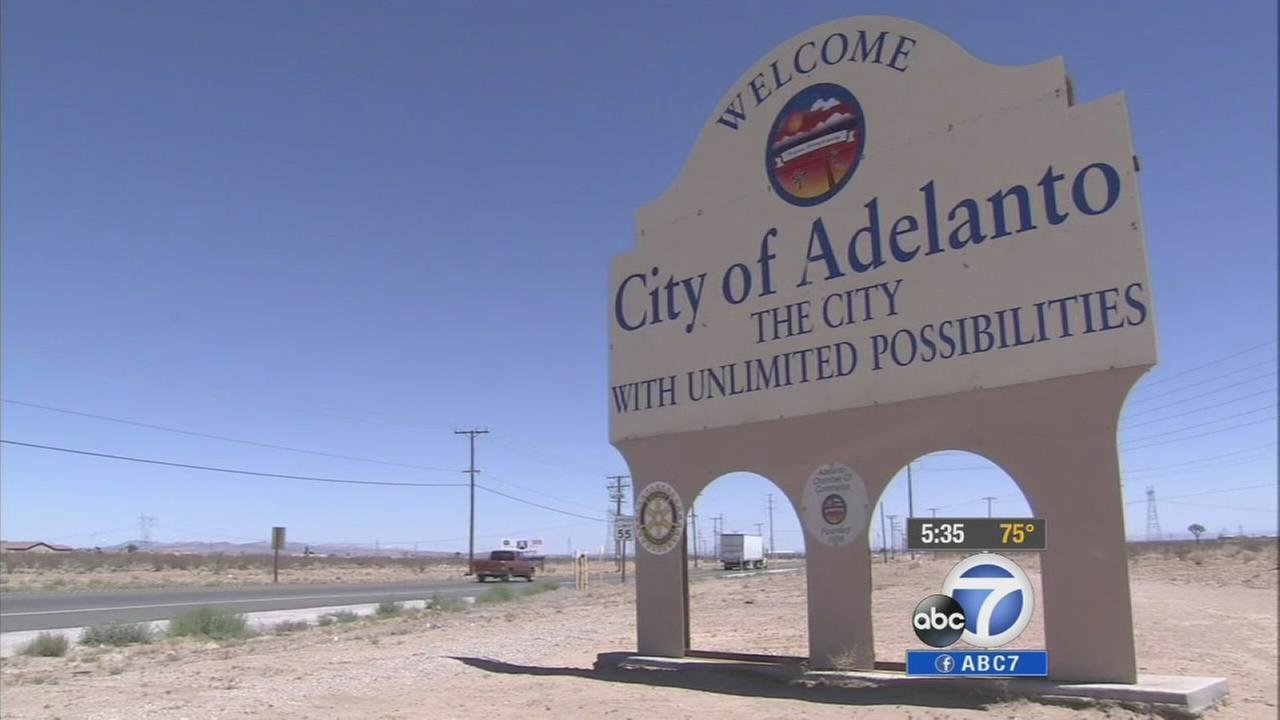 A sign for the City of Adelanto is shown in this undated file photo.