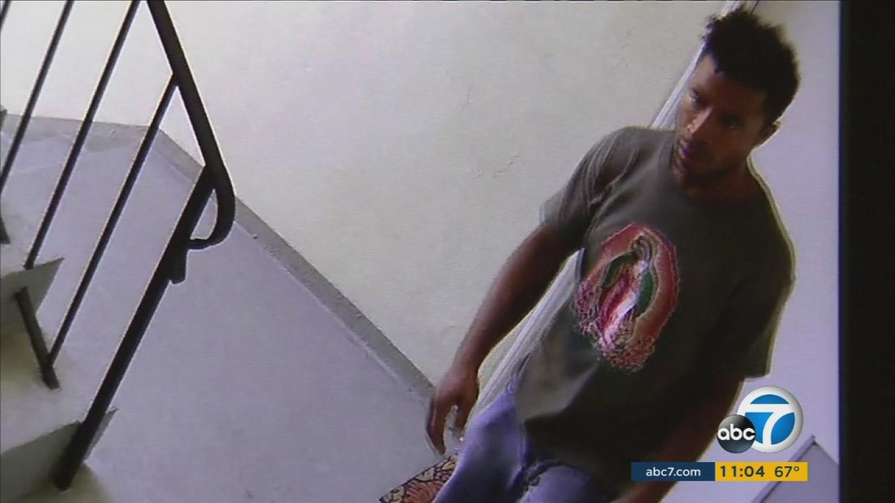 Surveillance video shows a close-up of a suspected sexual-assault prowler wandering Echo Park and other parts of Los Angeles.