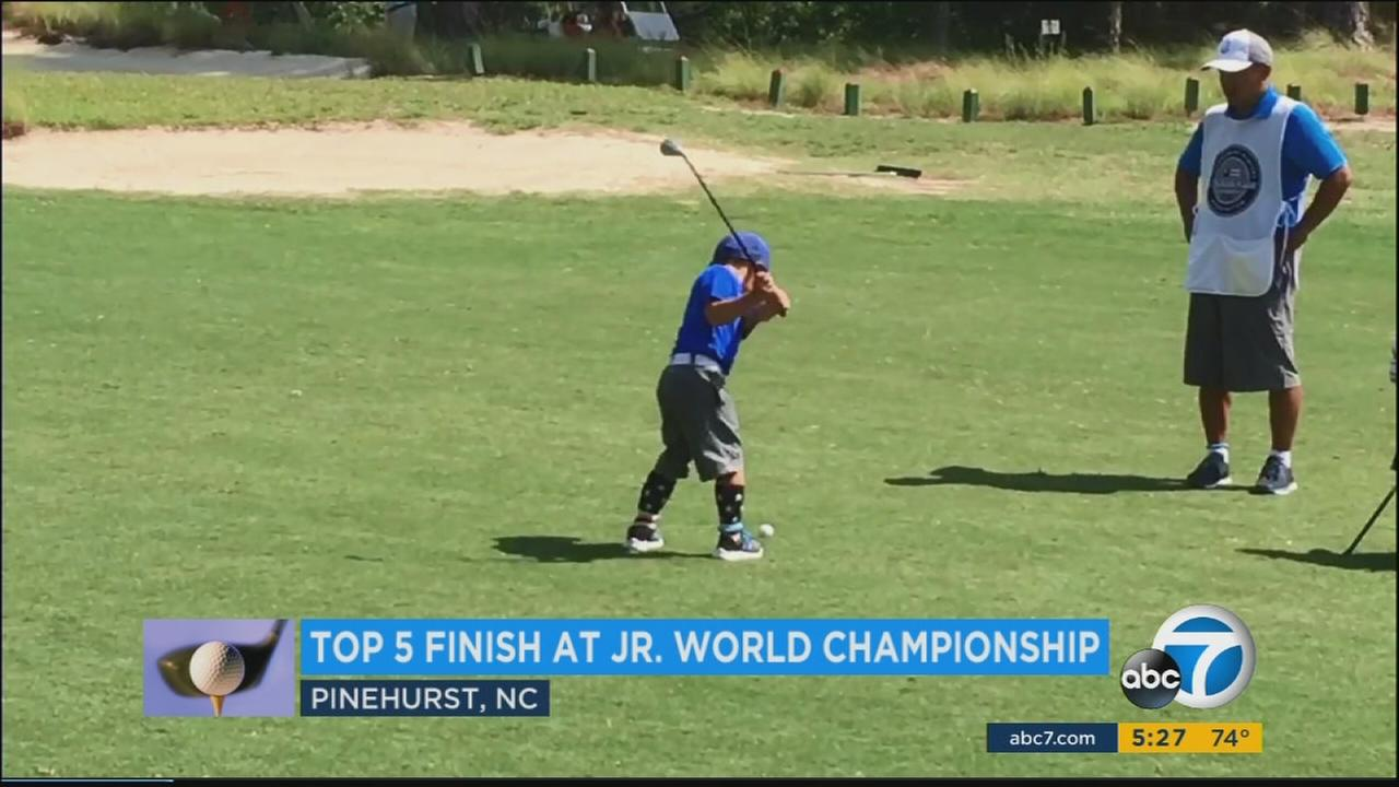 Golf prodigy Jaden Soong from Los Angeles rallied at the end of a youth tournament to finish tied for fifth - and the top American - out of a field of more than 80 young golfers.