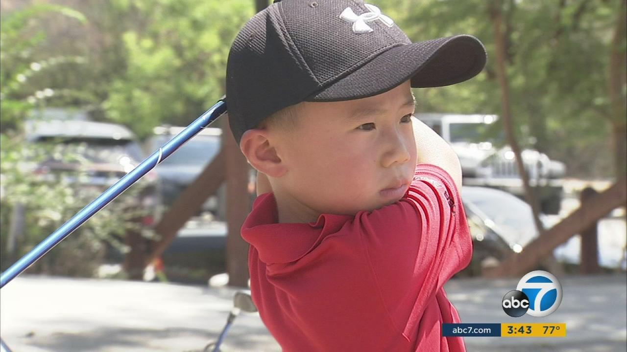 Golf prodigy Jaden Soong, just 6 years old, visited the ABC7 studio to show off his medals on Tuesday, Aug. 9, 2016.