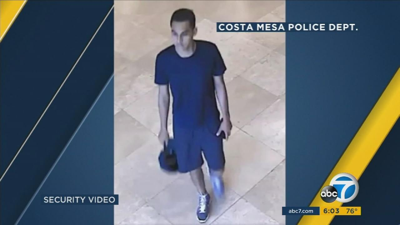 Surveillance footage shows a man suspected in a sexual assault at the South Coast Plaza on Aug. 2, 2016.