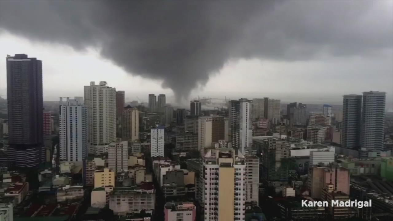 A tornado ripped through the Port Area of Manila, the capital of the Philippines on Sunday, Aug. 14, 2016.