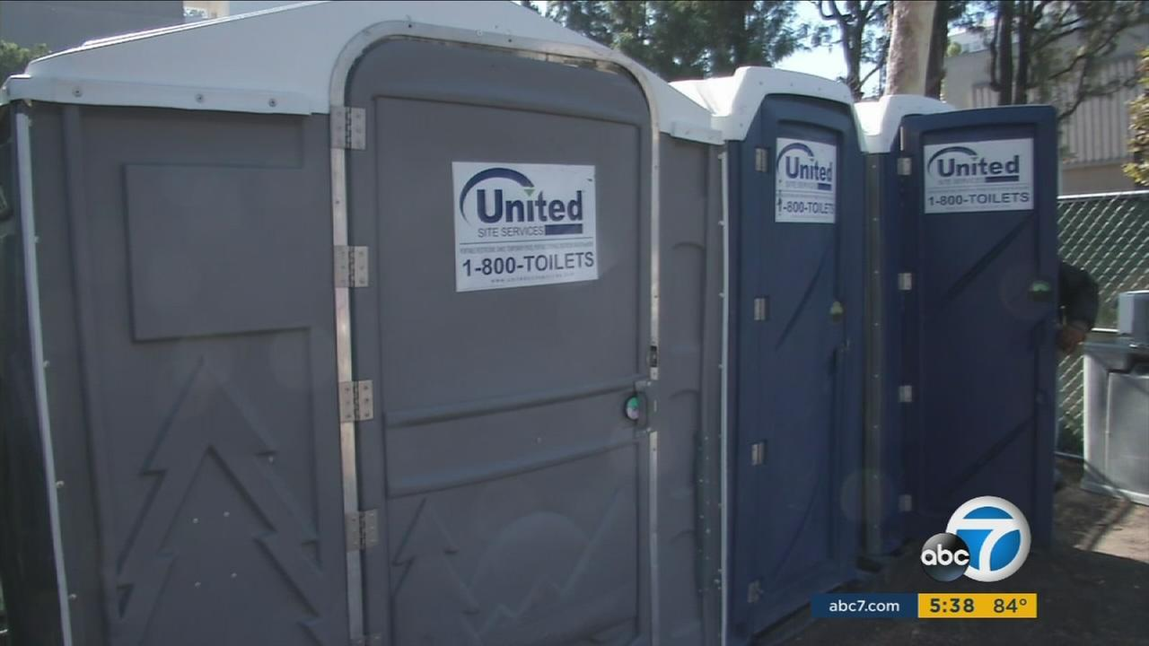 The city of Santa Ana has installed 3 portable restrooms for the growing homeless population near the Civic Center.