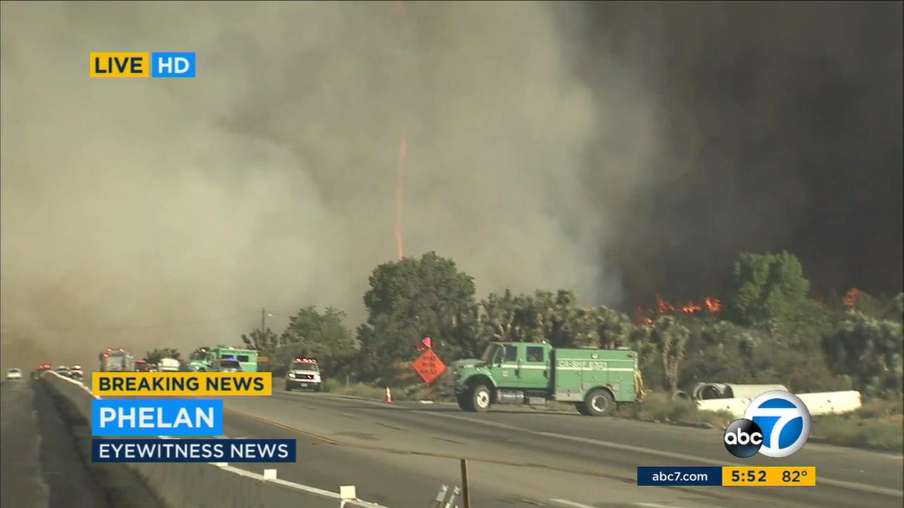 A firenado was spotted during ABC7s live coverage of the Blue Cut Fire in San Bernardino County on Tuesday, Aug. 16, 2016.