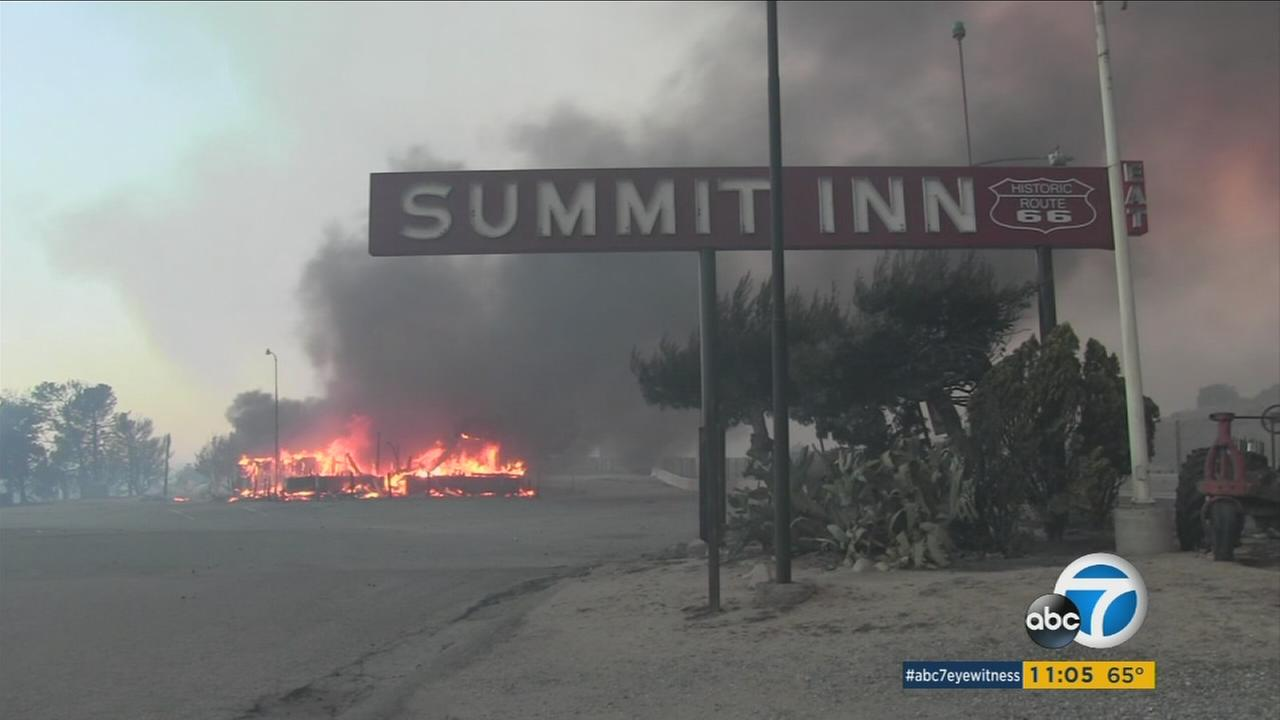 The Summit Inn diner, a staple along the historic U.S. Route 66, was destroyed in the Blue Cut Fire on Tuesday.