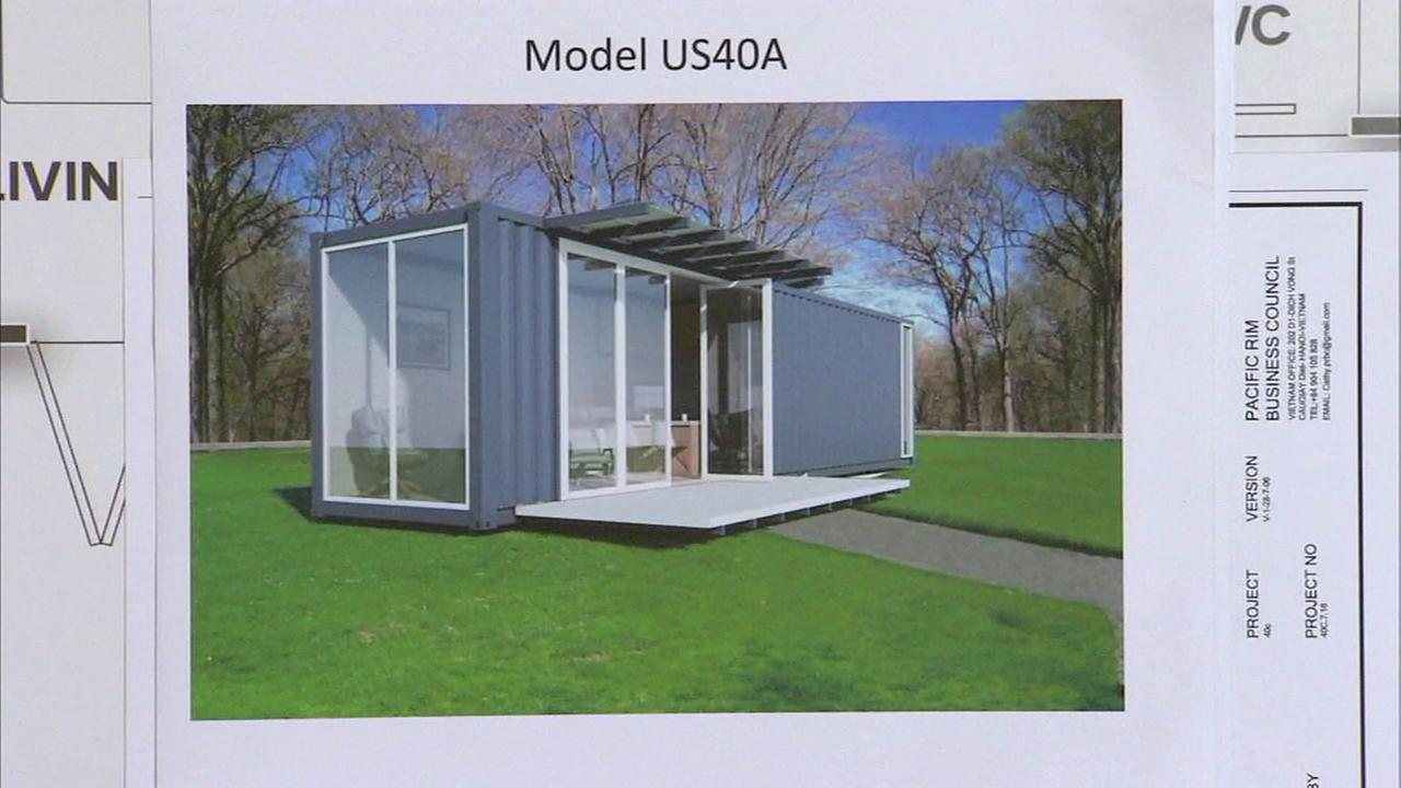 A rendering of a tiny home given to a homeless family is shown in an undated photo.