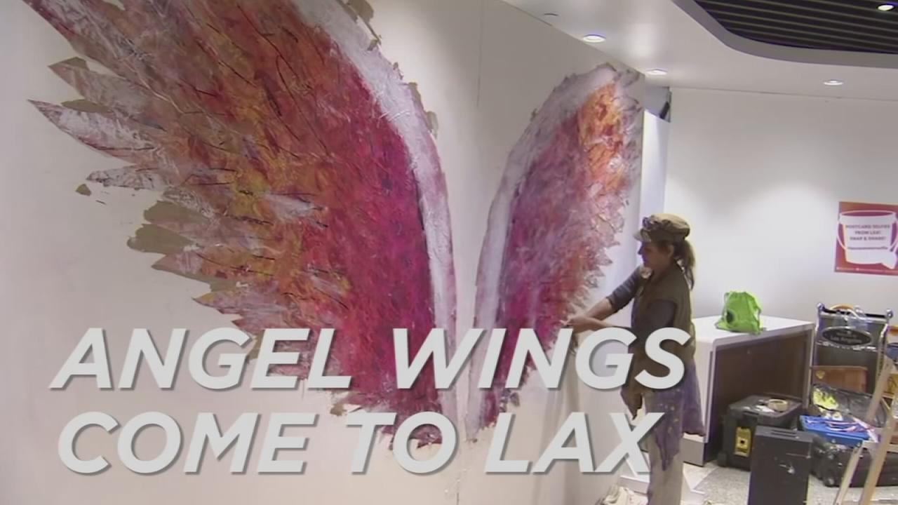 The Global Angel Wings Project came to the Los Angeles International Airport on Monday, Aug. 22, 2016.