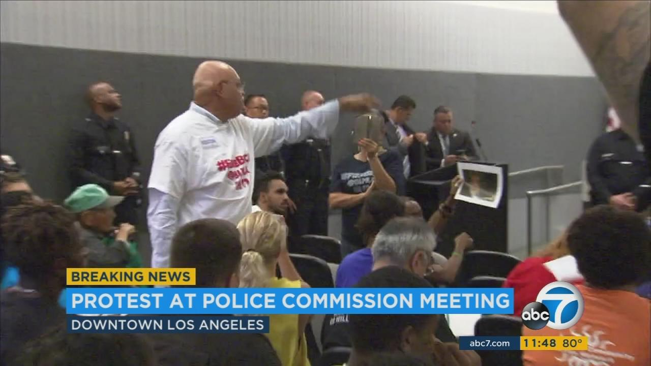 Protests erupted at the Los Angeles Police Commission meeting on Tuesday as Black Lives Matters activists called for the firing of Police Chief Charlie Beck and demonstrated against several officer-involved fatal shootings.