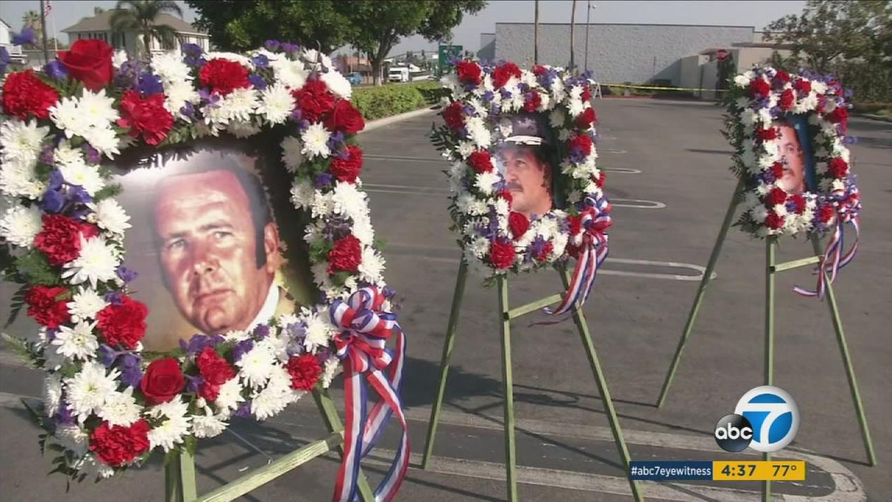 A memorial to honor the fallen police officers of Buena Park was unveiled during a special ceremony on Tuesday, Aug. 23, 2016.