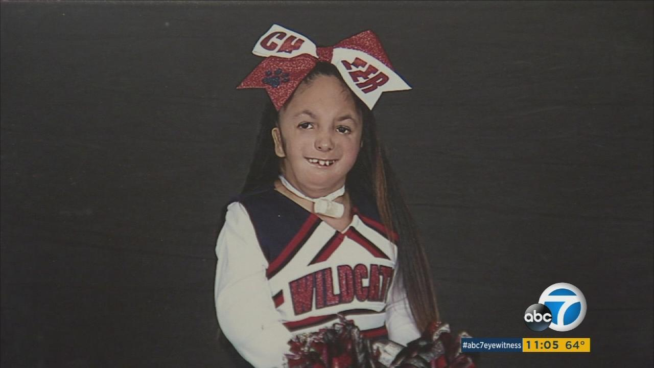 Jazmin Garcia, 10, is shown in a cheerleading uniform in an undated photo.