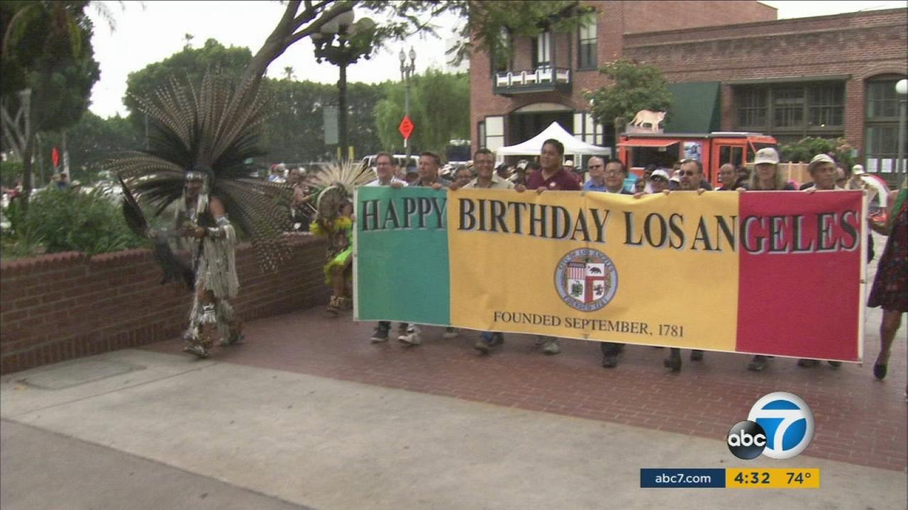 To mark the 235th birthday of Los Angeles, some Angelenos on Saturday re-enacted the nine-mile walk of the original Pobladores who founded the pueblo on Sept. 4, 1781.