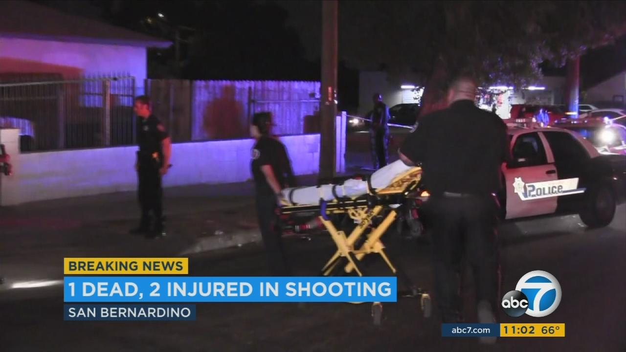 One man was killed and two women were wounded in a shooting in San Bernardino Saturday night, police said.