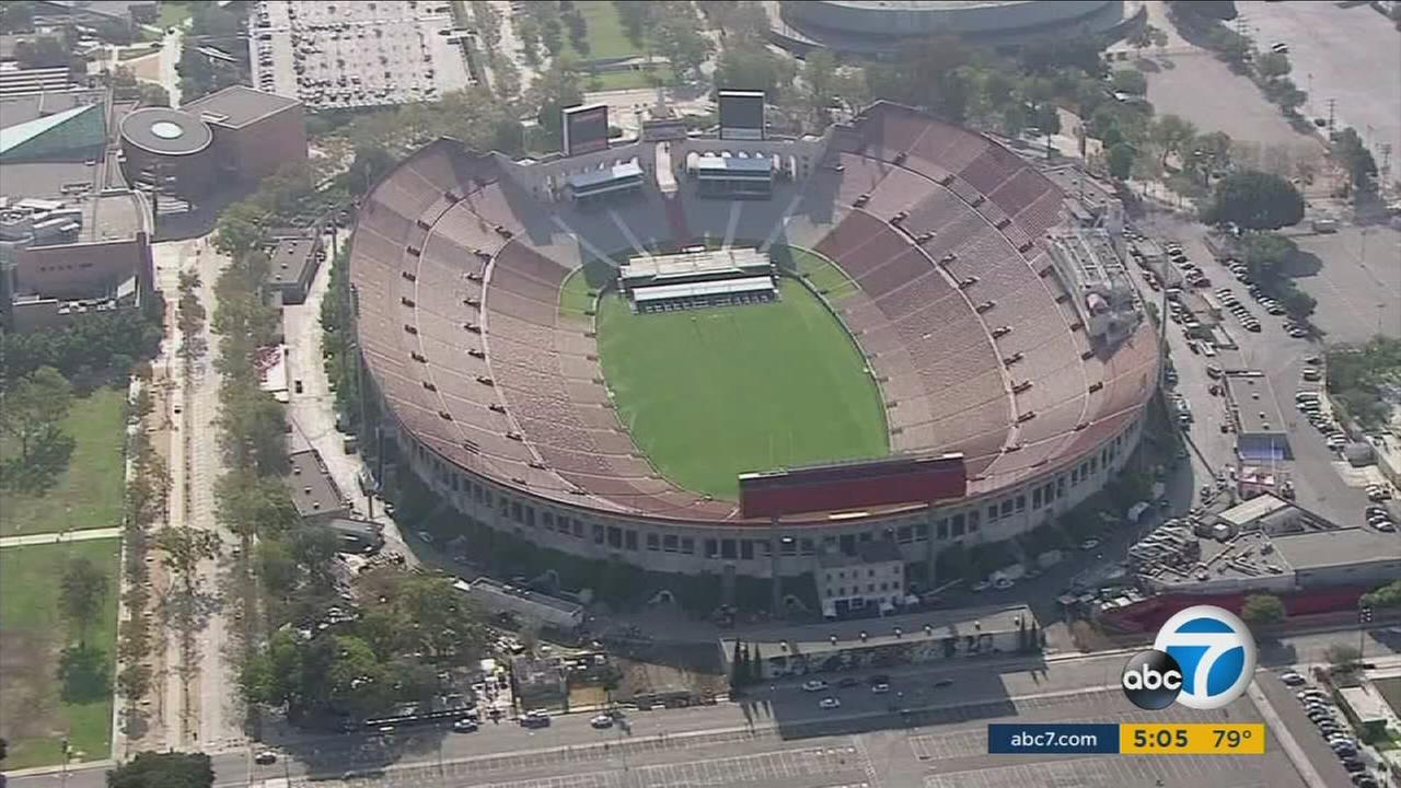 The Los Angeles Memorial Coliseum, where all the Rams 2016-17 season home games will be held, is shown in an undated photo.