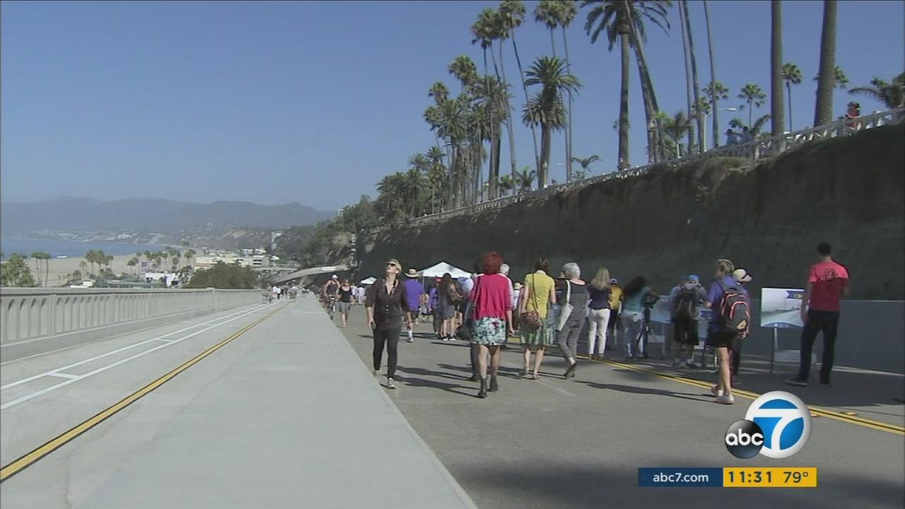 Santa Monicas iconic California Incline ramp reopened to bicyclists and pedestrians Thursday morning, Sept. 1, 2016.
