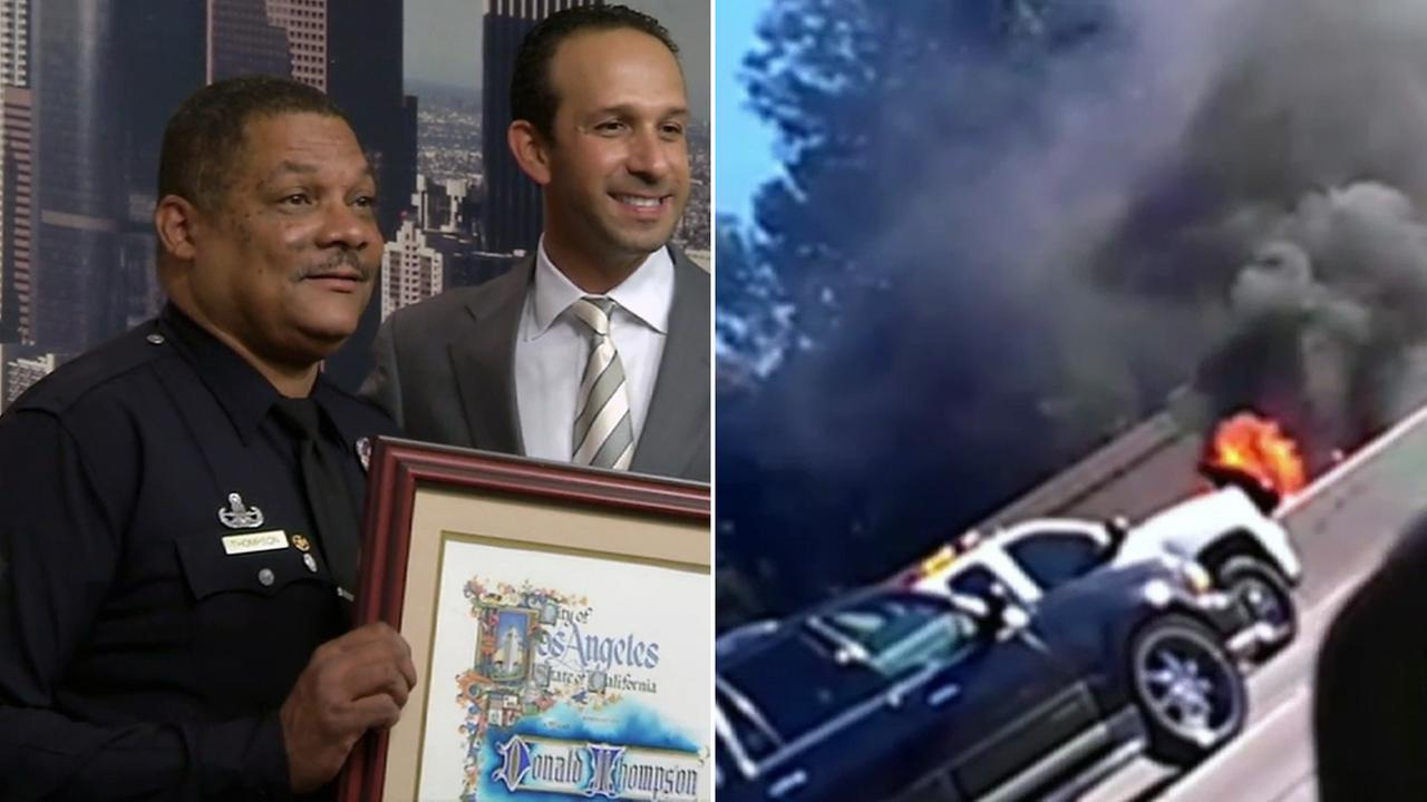 Officer Donald Thompson was on his way to work when he saw a burning car on the 405 Freeway and jumped into action on Dec. 25, 2013.