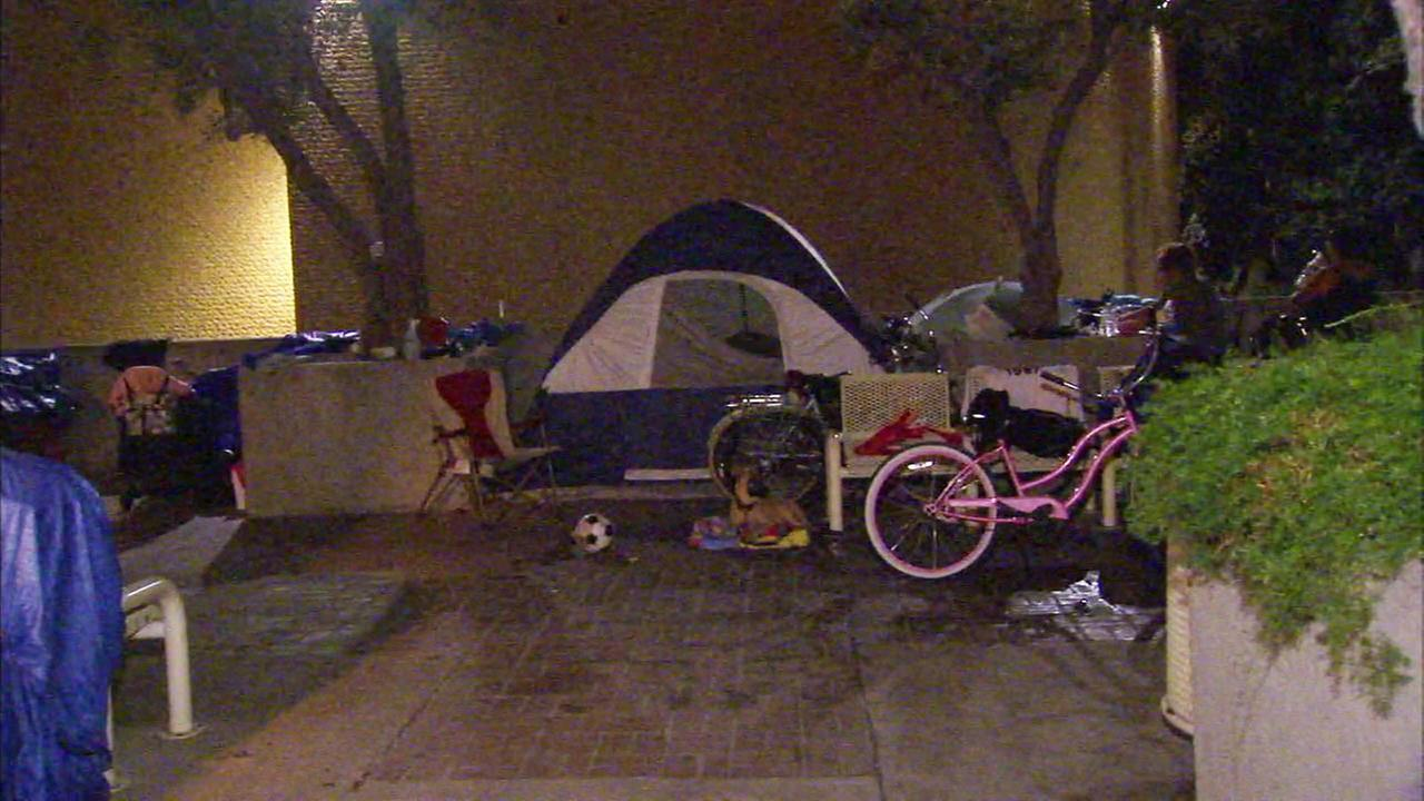 File photo of a homeless encampment in Santa Ana.