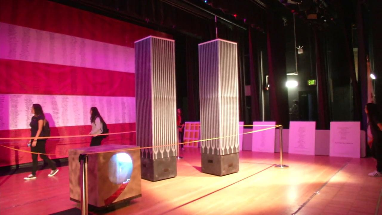 Replicas of the Twin Towers are shown at a 9/11 Memorial created by Sun Valley Magnet School students and their teacher.