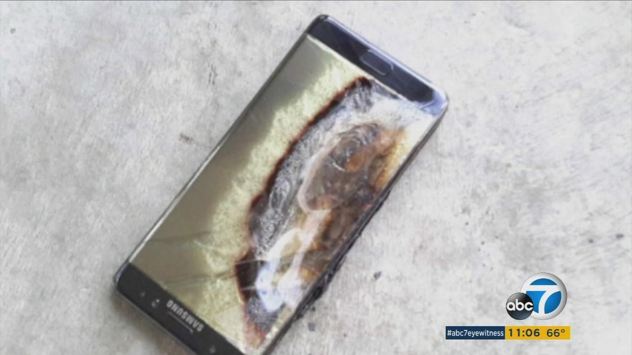 A charred Samsung Galaxy Note 7 is shown in a photo posted on social media.