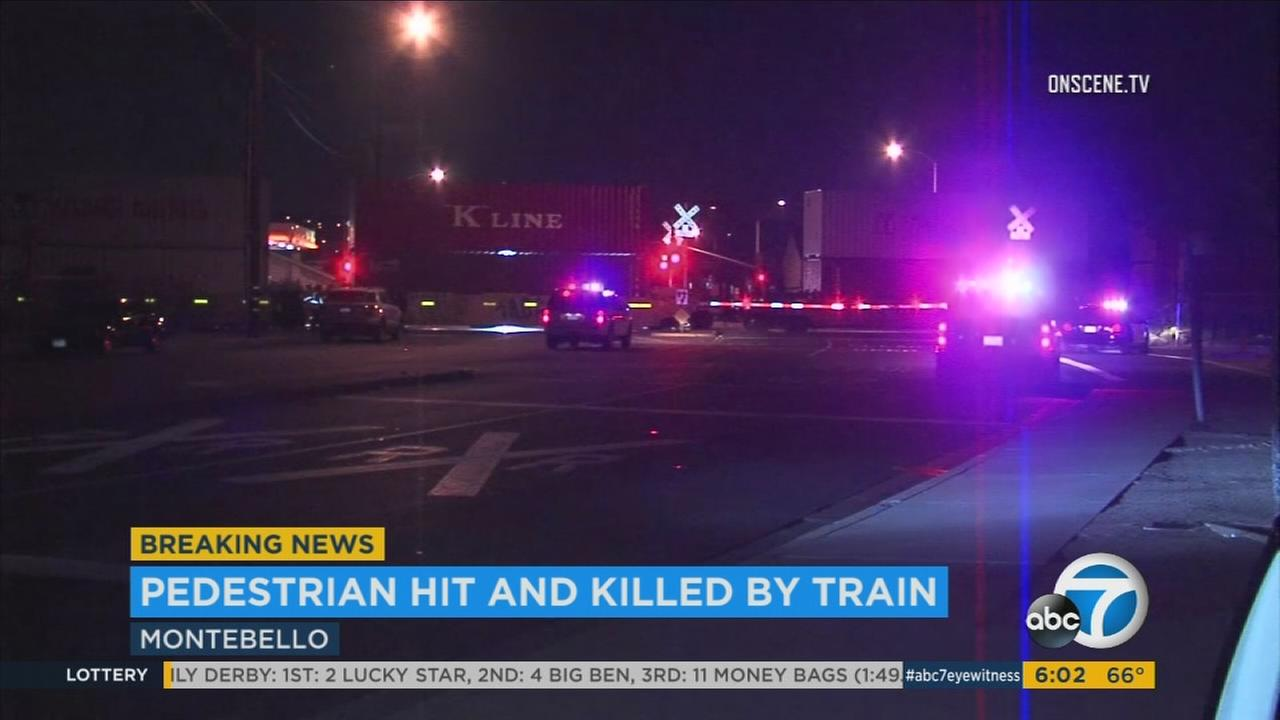 Multiple streets in Montebello were shut down Friday morning after a person was run over and killed by a freight train, Montebello police said.