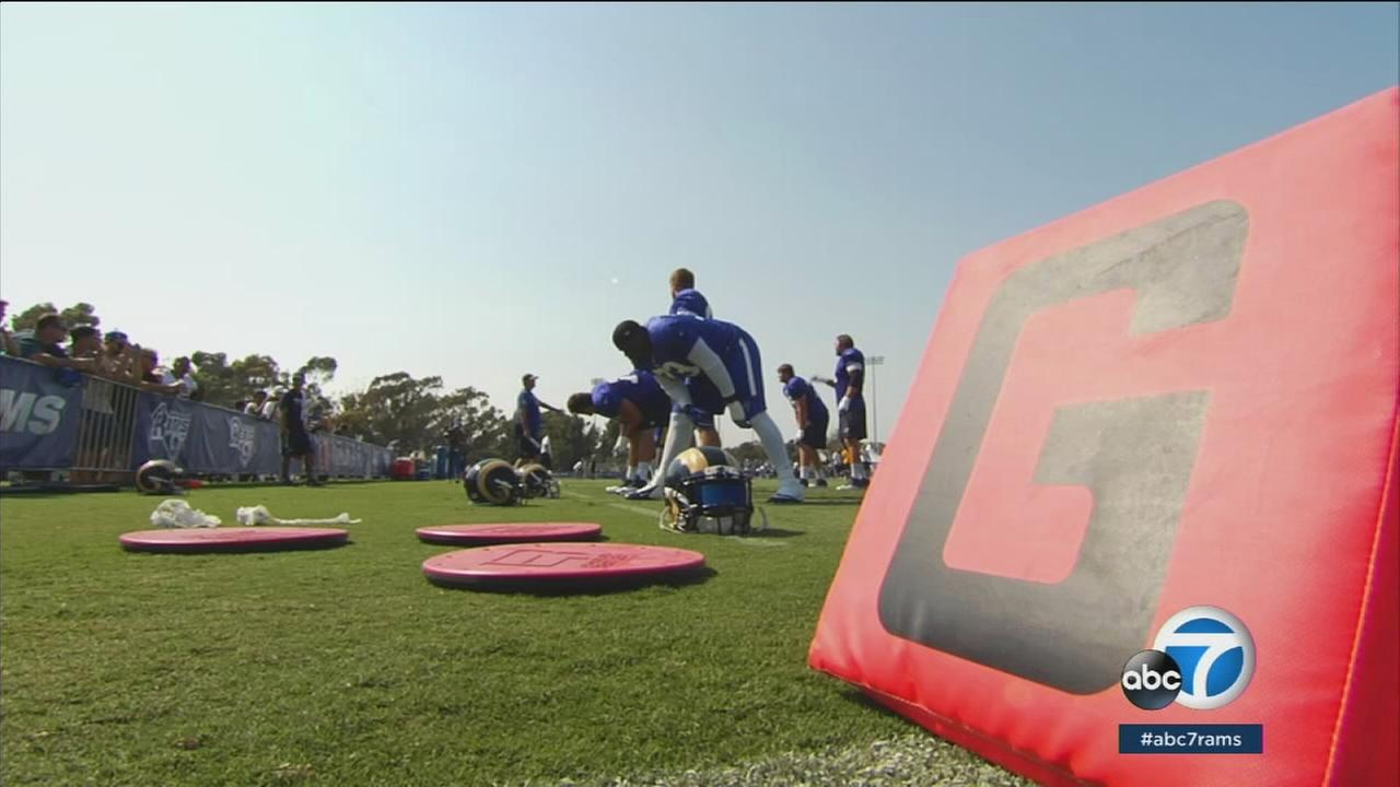 The Los Angeles Rams stretch during the 2016 training camp, their first since returning to Southern California.