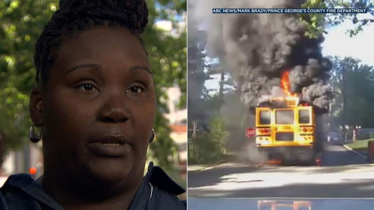Renita Smith, left, was driving a school bus when the vehicle caught on fire on Monday, Sept. 12, 2016.