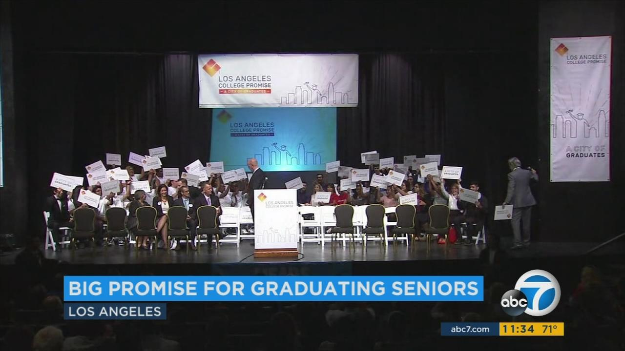 Under the national College Promise program which LA is now joining, high school graduates will get 1 free year of tuition at a local community college.