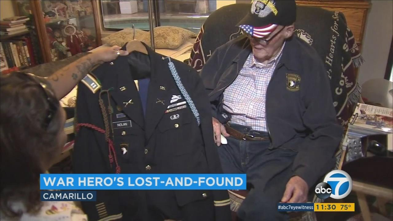 After his luggage containing his precious war medals was lost by United Airlines, WWII veteran Emmett Nolan was reunited with his bags at his Camarillo home on Sept. 15, 2016.