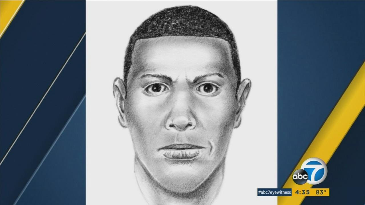 A sketch of a man suspected of killing a woman at a bus stop during a gang-related shooting is shown.