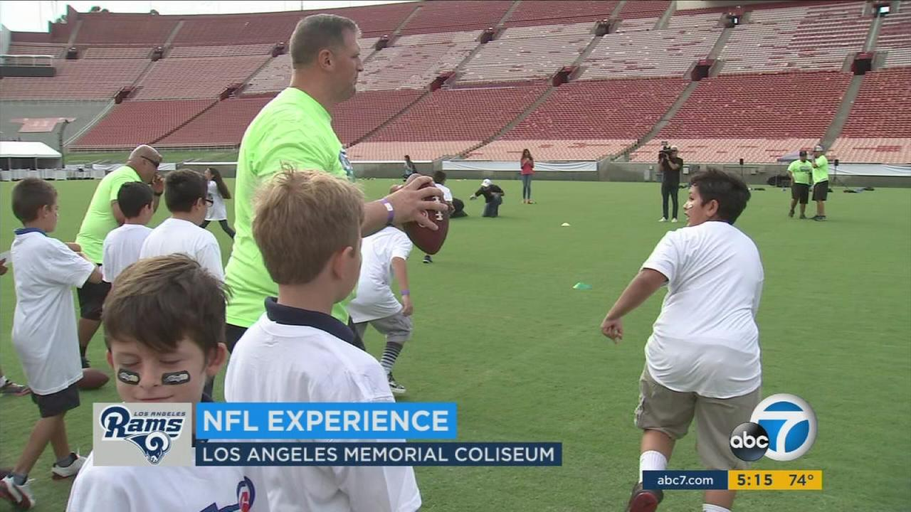 NFL Play 60 at the Coliseum looks to instill character in kids while teaching them football skills.