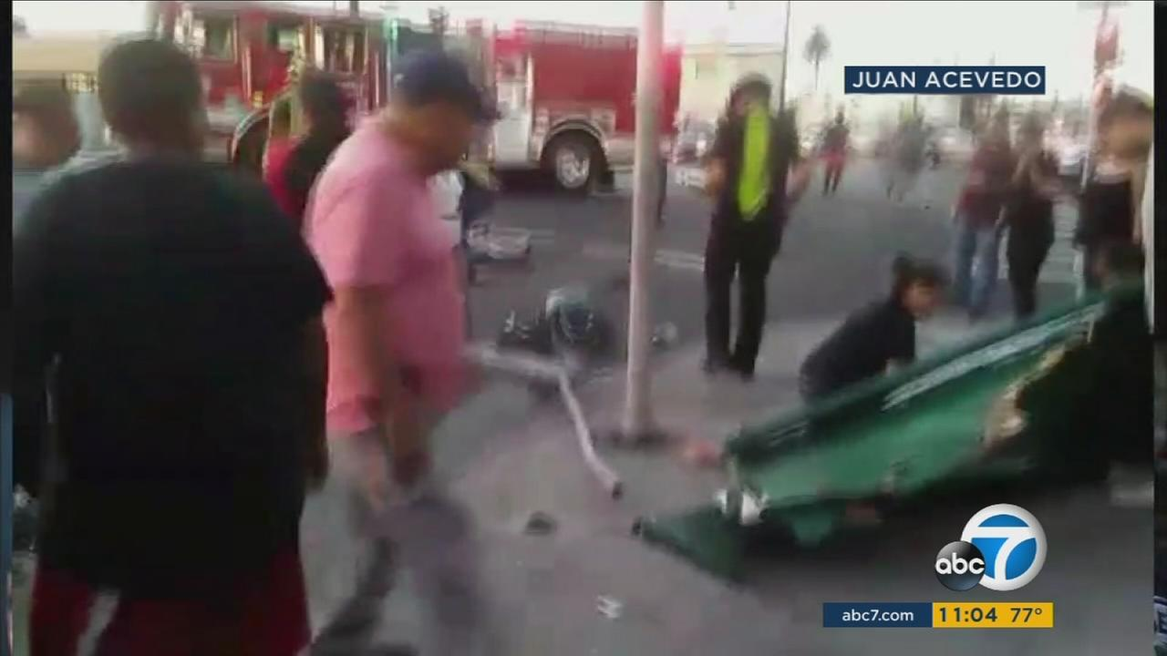 An elderly man died and his wife and daughter were critically injured after a hit-and-run crash at a South Los Angeles bus stop Monday night.