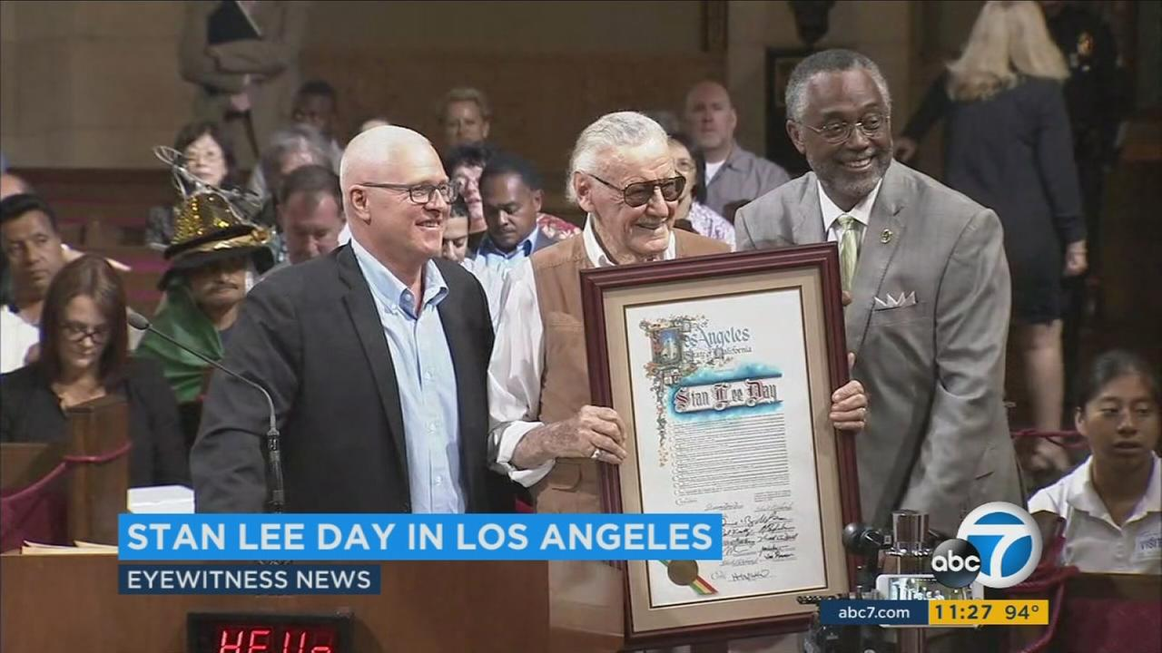 Comic book legend Stan Lee was honored at Los Angeles City Hall on Tuesday, Sept. 27, 2016.