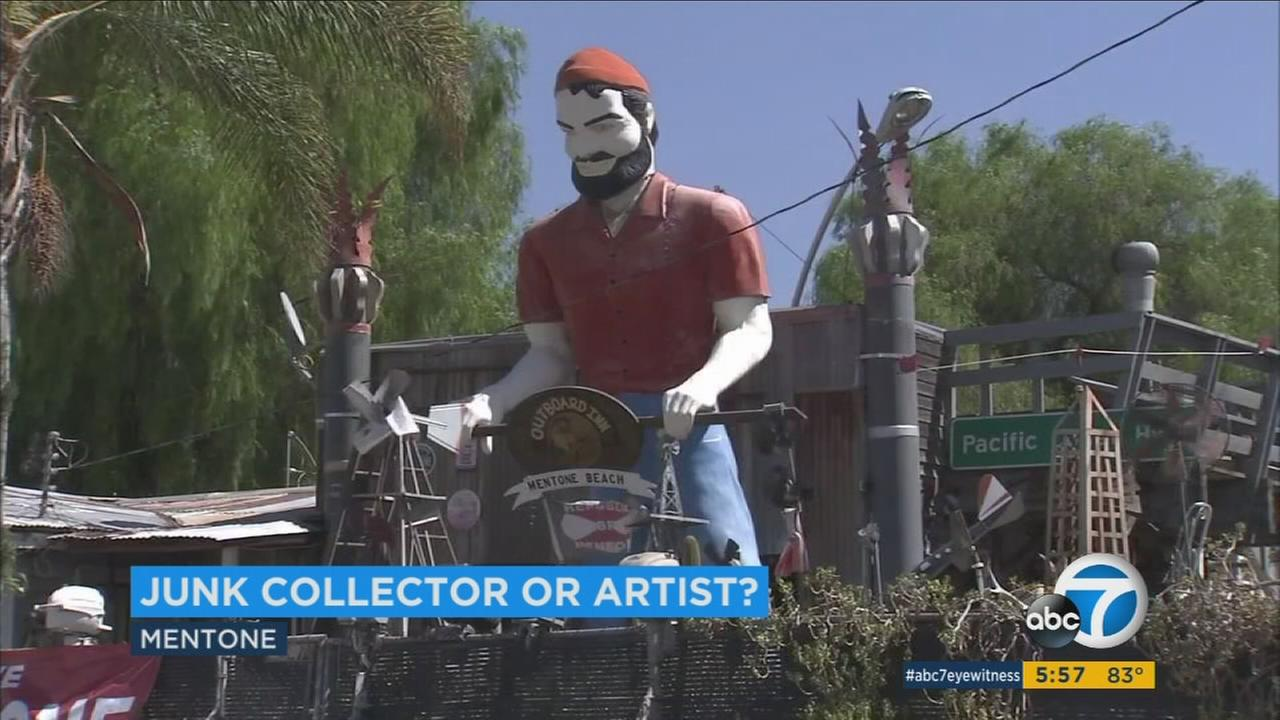 A Paul Bunyan statue is seen at a Mentone mans yard.