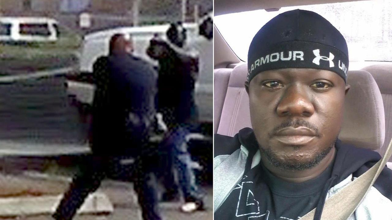 Alfred Olango, 30, from Uganda, is shown on the right in an undated photo. A photo on the right allegedly shows him pointing an object at officers before being shot and killed.