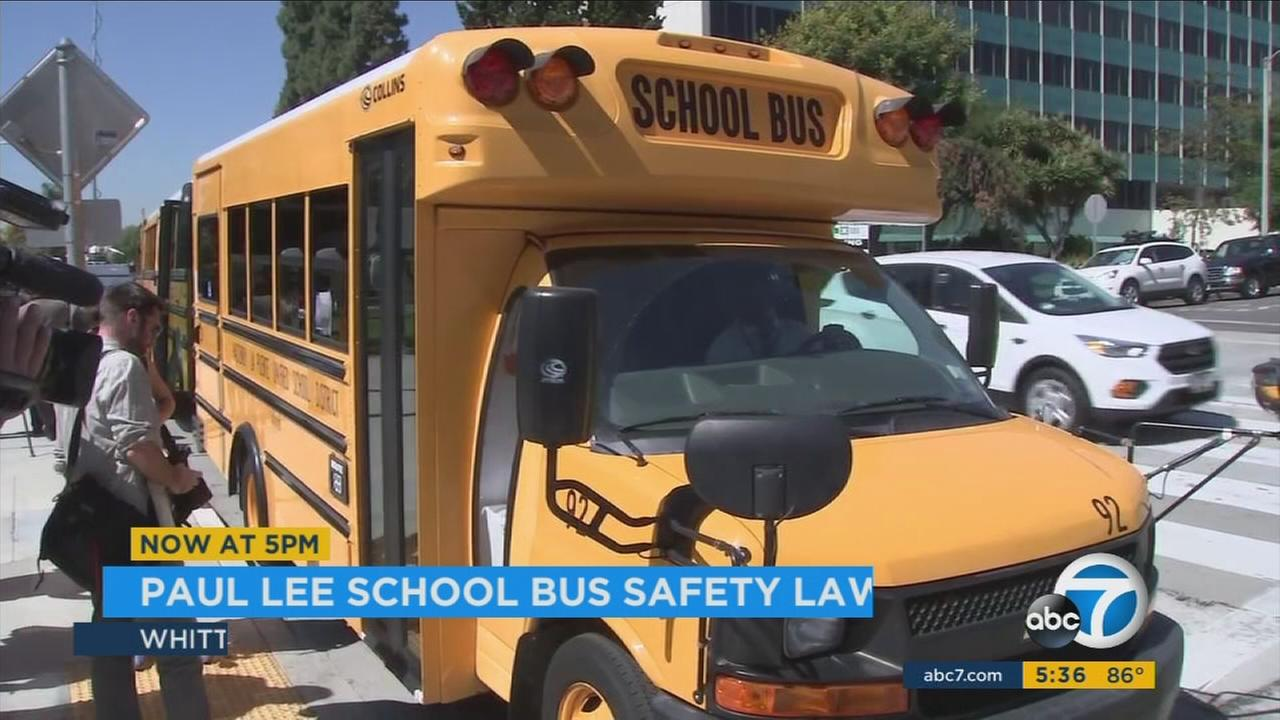 A school bus is shown in an undated photo. The bus now requires safety alarms to make sure no student is forgotten on a vehicle.