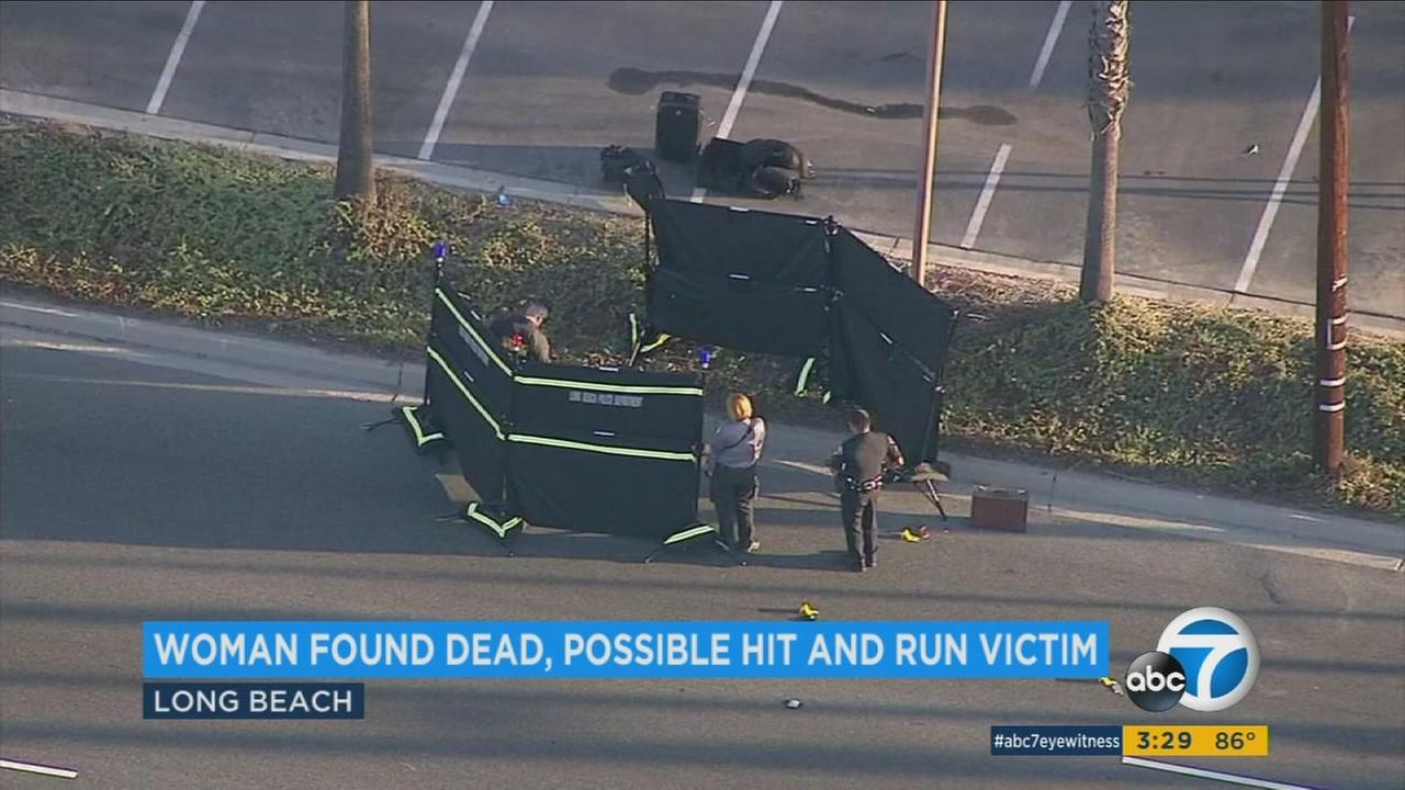 The body of a woman in her 20s was found early Thursday morning on the side of a road in Long Beach and police believe she may have been the victim of a hit-and-run.