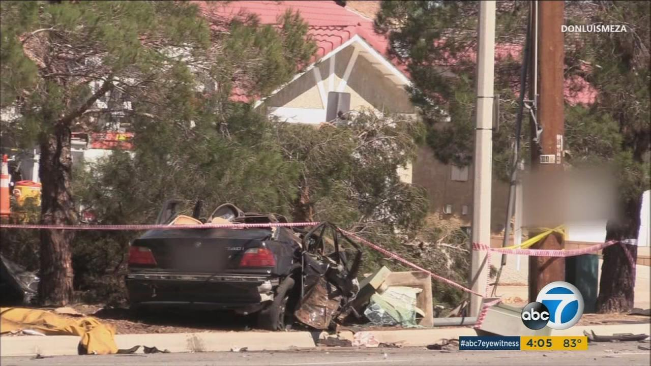 The aftermath of a fatal crash that left a SoCal Edison worker dead in Lancaster on Friday, Sept. 30, 2016.