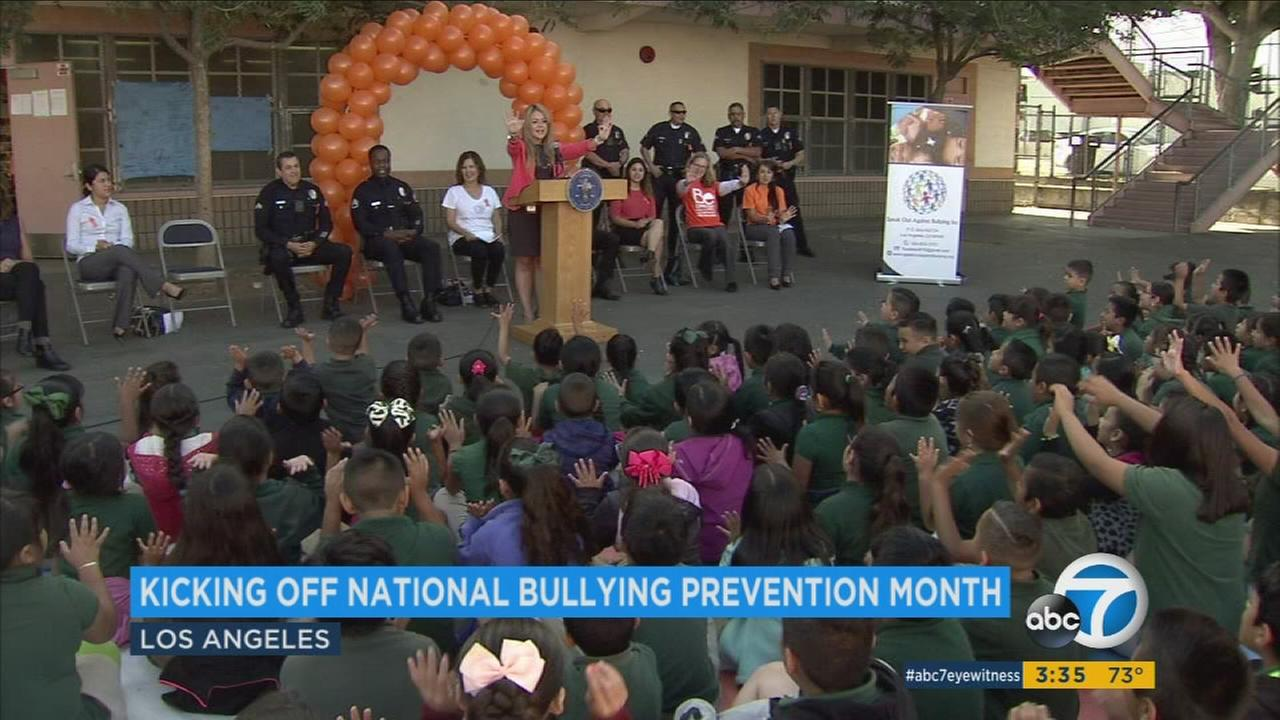 Students took a pledge at Extera Charter Elementary School during National Bullying Prevention Month.