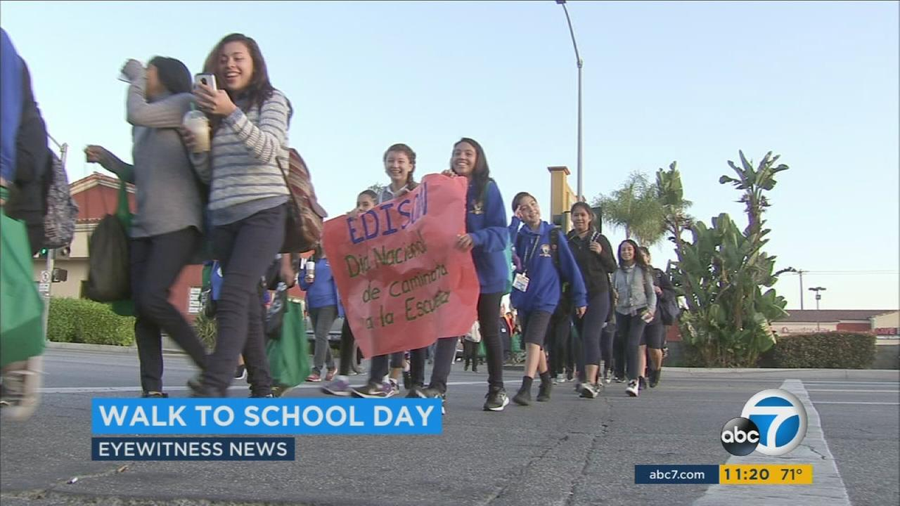 Students walked to school during the 5th annual Walk to School Day on Wednesday, Oct. 5, 2016.