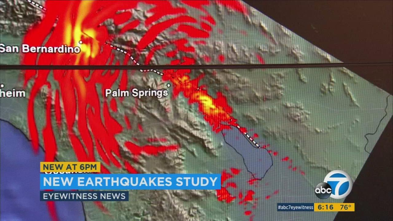 This scientific rendering shows the effects of a large earthquake in Southern California.