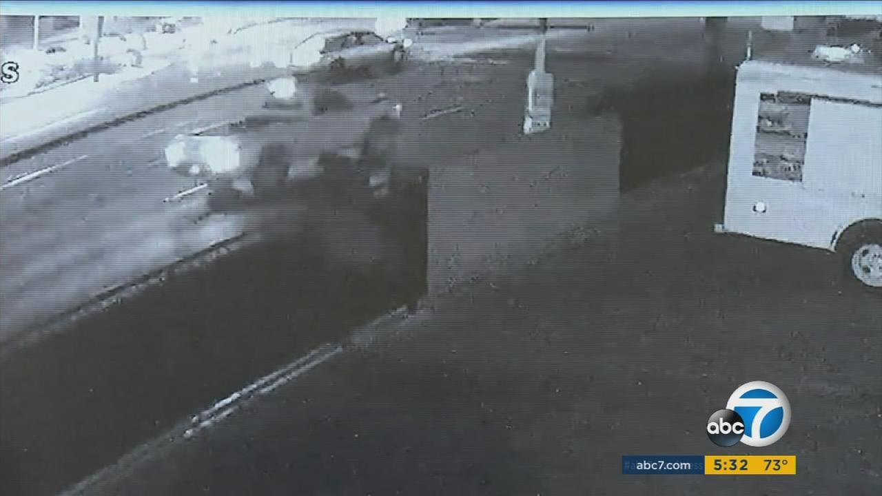 Surveillance cameras captured a deadly hit and run in Santa Ana on Monday, Oct. 10, 2016.