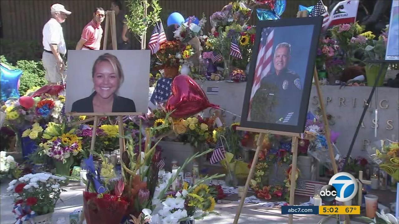 A memorial for two slain officers fatally shot in Palm Springs.