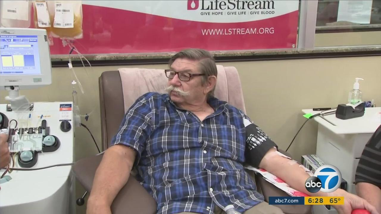 Jim Grusslin, 71, is shown donating blood to LifeStream blood donation center in San Bernardino on Tuesday, Oct. 11, 2016.