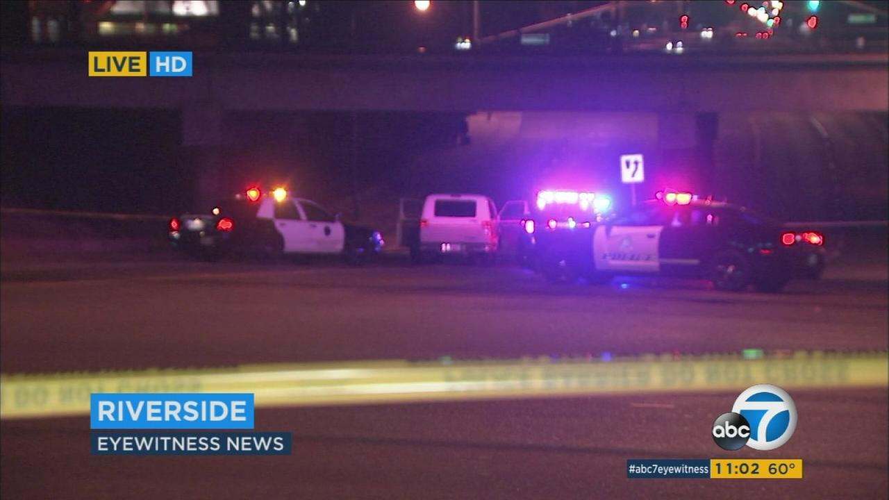 A chase suspect was in custody after shots were fired at officers in Riverside Tuesday night, according to officials from the Riverside Police Department.