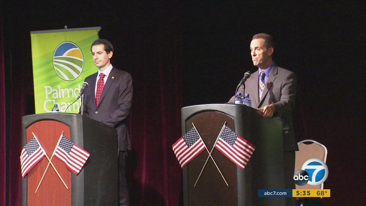 U.S. Rep. Steve Knight and Bryan Caforio discuss various local issues during a debate in Palmdale.