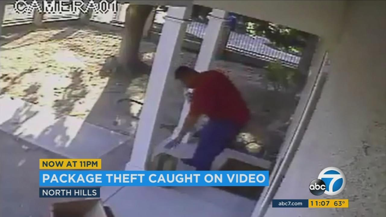 A North Hills couple is asking for the publics help in finding a package thief who snatched their belongings right off their front porch.