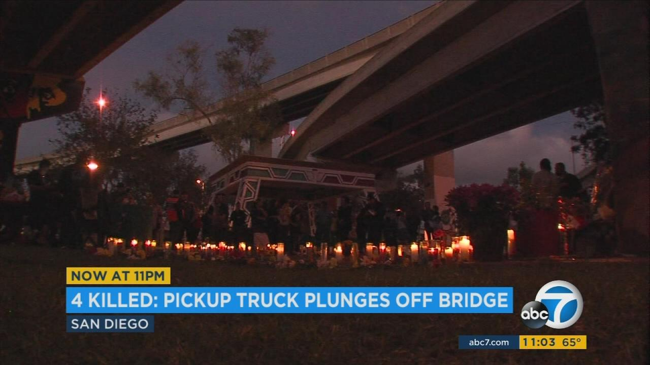 A vigil was held Sunday, Oct. 16, 2016, in honor of the four people who were killed when a truck plunged off a bridge and landed on a vendors booth at San Diegos Chicano Park.